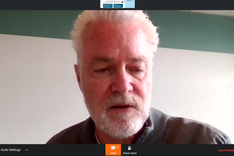 Greg Flisram, executive director of the Urban Redevelopment Authority, talks via Zoom to the URA board at its April 16, 2020 meeting.