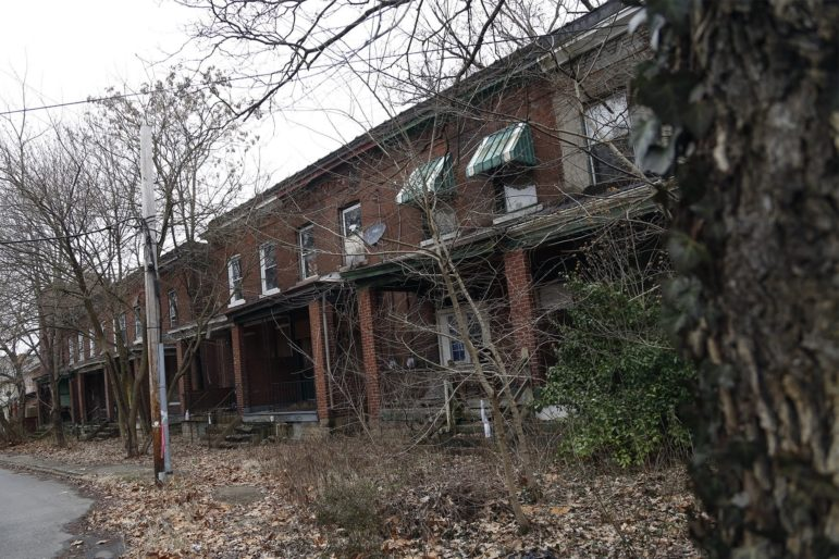 Vacant properties on Ramsey Street in Wilkinsburg. (Photo by Ryan Loew/PublicSource)