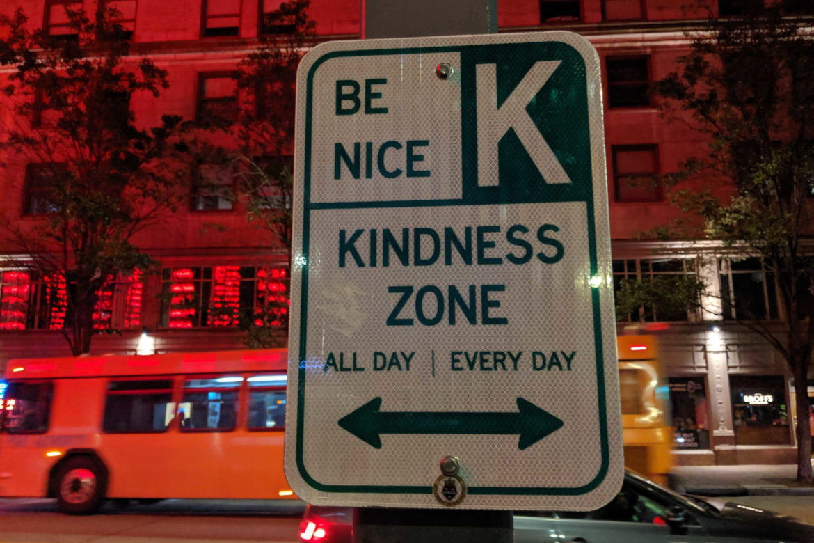 "Street sign that reads ""Kindness Zone"""