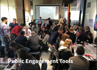 A typical public engagement meeting for a neighborhood planning process, as depicted in a presentation by Pittsburgh's City Planning Department to the Oakland Plan Steering Committee on Nov. 21, 2019.