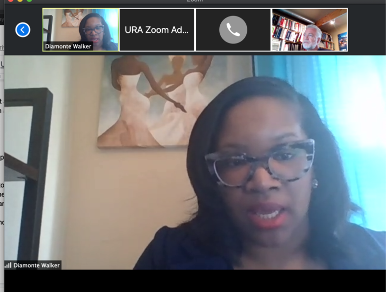 "Diamonte Walker, deputy executive director of Pittsburgh's Urban Redevelopment Authority, talks about the URA's history of being ""siloed,"" and its efforts to build bridges to other organizations, via Zoom, on April 13, 2020."