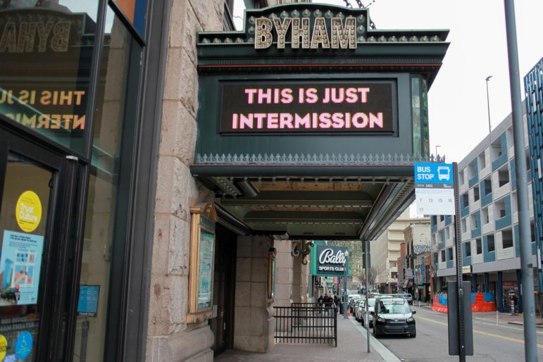 The marquee on The Byham Theater Downtown Pittsburgh. (Photo by Kimberly Rowen/PublicSource)
