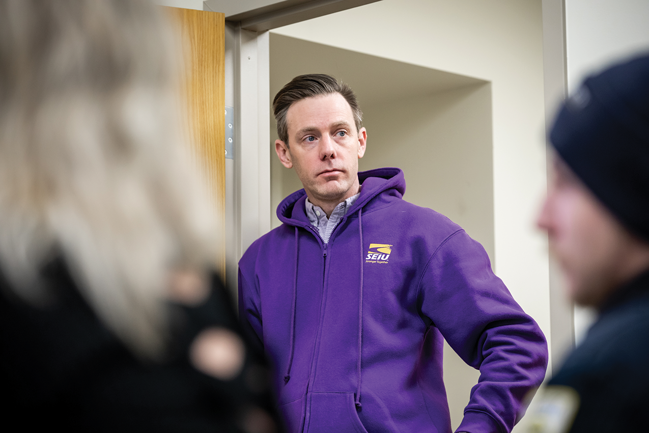 Sam Williamson, district leader of SEIU 32BJ, at a February meeting at the local's Fourth Avenue office. (Photo by Elan Mizrahi/Pittsburgh Magazine)