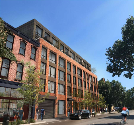 A rendering of a proposed new mixed-use building slated for 1717 Fifth Ave., presented to the City Planning Commission by Indovina Associates Architects on June 2, 2020.