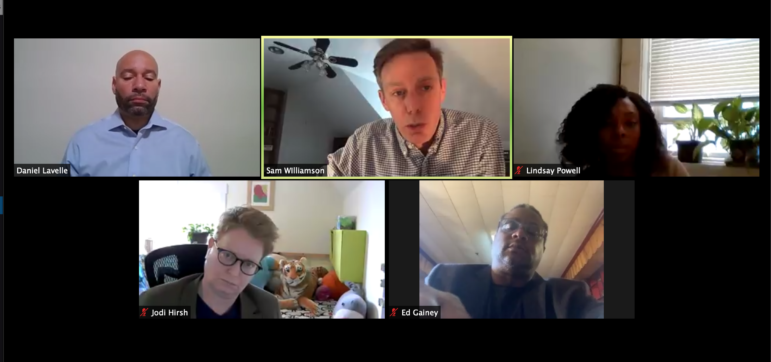 The Urban Redevelopment Authority board, consisting of (clockwise from top left) R. Daniel Lavelle, Sam Williamson, Lindsay Powell, Ed Gainey and Jodi Hirsh, debates, via Zoom, the Penguins' plans to develop the Lower Hill District, in May 2020. (Screenshot)