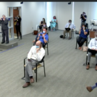 Socially distant and masked reporters gather to question Gov. Tom Wolf at the Pennsylvania Emergency Management Agency office in Harrisburg on May 29, 2020. The press conference was the first involving live interaction, instead of virtual questioning via Internet, since the state stay-at-home order of March. (Screenshot)