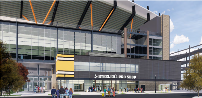 Rendering of proposed new Steelers Pro Shop at Heinz Field submitted by Kolano Design to the City Planning Commission on June 2, 2020.
