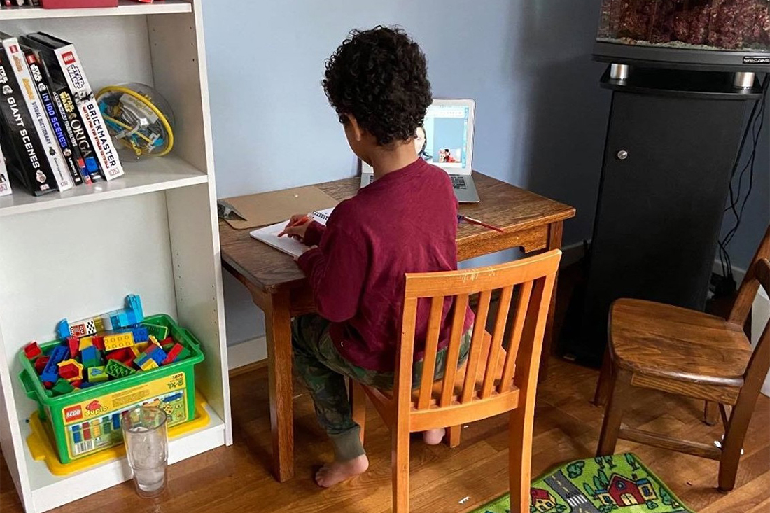 Patton Manion, 6, of Mt. Lebanon, chats with his therapist in a quiet corner his parents have set up for him. Telehealth has helped maintain continuity during the COVID-19 shutdown. (Courtesy photo)