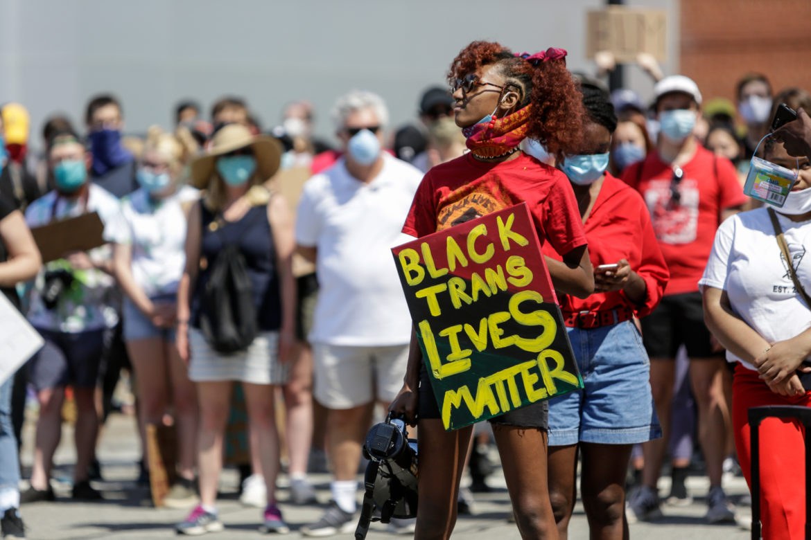 Black Lives Matter protesters at Bakery Square in Pittsburgh during a sit-in demonstration on June 6, 2020. (Photo by Nick Childers/PublicSource)