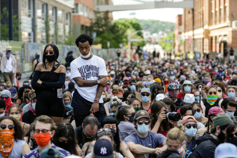 Bakery Square in Pittsburgh during a sit-in demonstration on June 6, 2020. (Photo by Nick Childers/PublicSource)