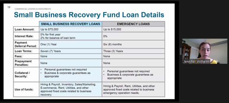Comparison of the Urban Redevelopment Authority's COVID-19 business loan programs, as presented by Jennifer Wilhelm, assistant director of the URA's Center for Innovation and Entrepreneurship, at the agency's June 11, 2020 board meeting, conducted via Zoom. (Screenshot)