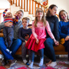 Cristie Bloom with her husband, Chris Gabuzda, and their four children ( Lillian, 9; Miles, 8; Eleanor, 6; Elias, 4). (Courtesy photo)