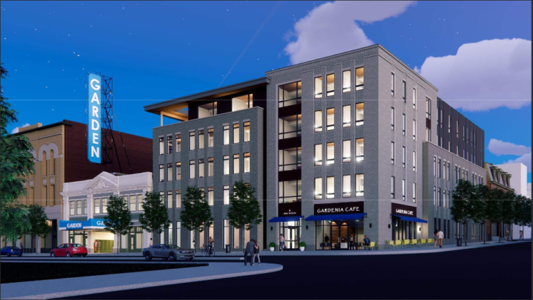 A rendering of a proposed new apartment building, slated for the corner of West North Avenue and Federal Street, in the Central Northside, as presented to Pittsburgh's City Planning Commission on June 30, 2020.