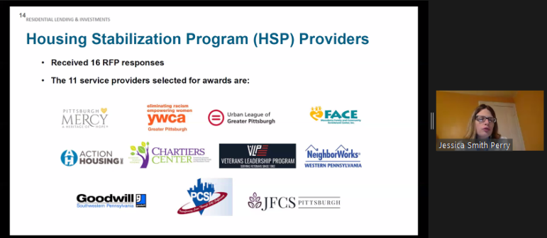 The 11 providers hired by the Urban Redevelopment Authority to administer the Housing Stabilization Program, as presented by URA housing head Jessica Smith Perry, in a URA board meeting conducted via Zoom. (Screenshot)