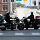 Pittsburgh motorcycle officers Downtown during a June 4, 2020 rally against racism and police violence. (Photo by Jay Manning/PublicSource)