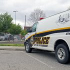 A police van parked at Moore Park in the Brookline neighborhood of Pittsburgh. (Photo by Jay Manning/PublicSource)