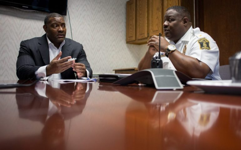 Pittsburgh Public Schools Superintendent Anthony Hamlet and Chief of Safety George Brown Jr. (Photo by John Hamilton)