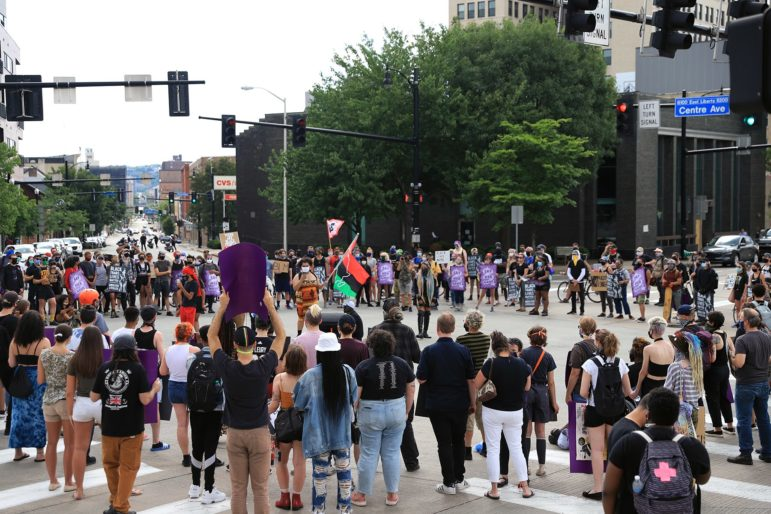 A crowd gathered in East Liberty for a June 26, 2020 protest against police violence. (Photo by Jay Manning/PublicSource)