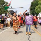 Protesters march and chant down Centre Avenue in East Liberty in a march centered on Black women and Black trans women. (Photo by Jay Manning/PublicSource)