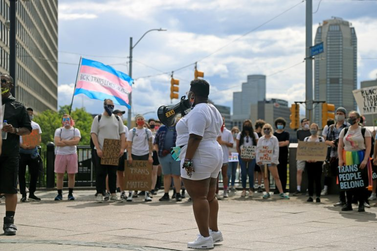 Miracle Jones addresses participants at the Pittsburgh Action for Black Trans Lives rally at Freedom Corner on June 18, 2020. (photo by Jay Manning/PublicSource)