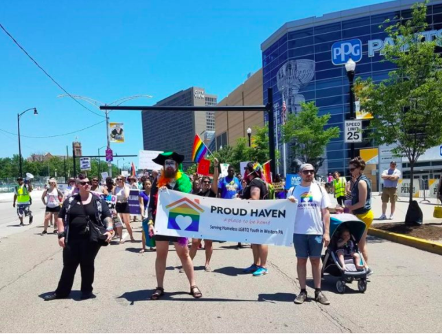 Proud Haven is a Pittsburgh group dedicated to helping LGBTQ+ youth experiencing homelessness. Volunteers here are marching in the Peoples Pride Parade in 2017. (Courtesy photo)