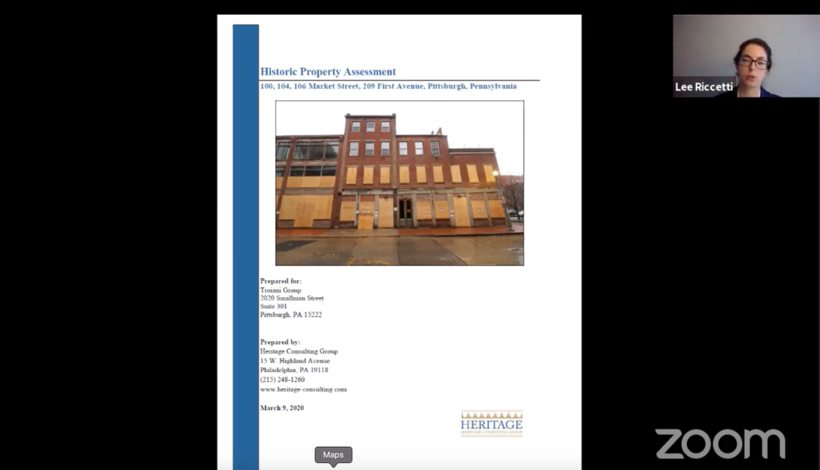 Lee Riccetti, a Philadelphia-based historic preservationist and project manager for Heritage Consulting Group, disputes the importance of a cluster of buildings, pictured, including the former Froggy's bar, within Downtown's Firstside Historic District, in a June 30, 2020 meeting of Pittsburgh's City Planning Commission, held via Zoom.