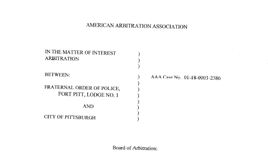 The caption of an arbitration decision handed down on Jan. 9, 2020, which governs relations between the city of Pittsburgh and the Fraternal Order of Police.
