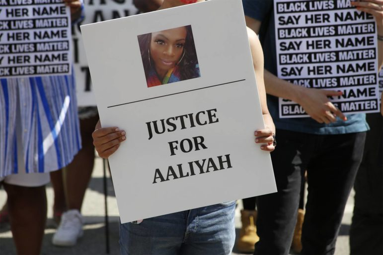 Over 200 people joined in a two-hour march and candlelight vigil that looped around downtown McKeesport on Friday to demand justice for Aaliyah Johnson and other Black trans people. (Photo by Ryan Loew/PublicSource)
