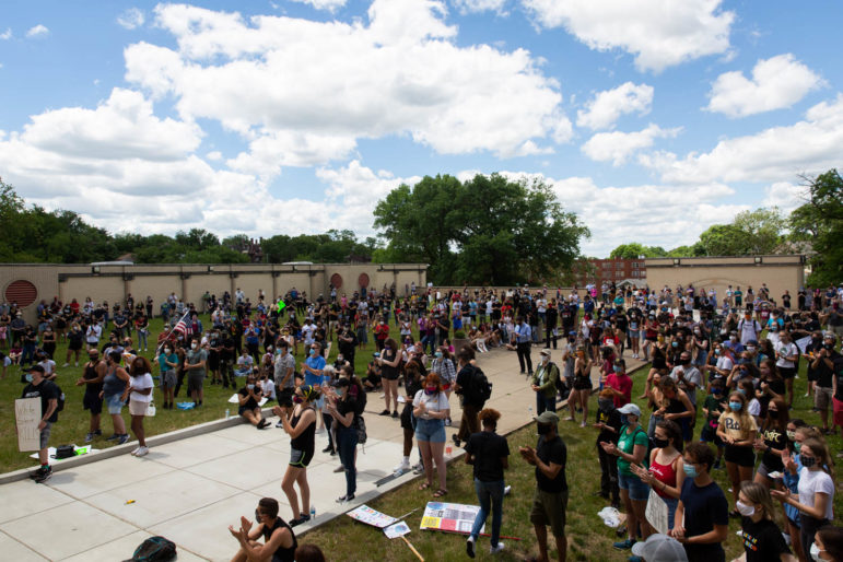 Several hundred people attended a 90-minute demonstration at Allderdice High School on June 11, 2020. The crowd was a diverse mix of students, teachers, families and community members. (Photo by Maranie Rae Staab/PublicSource)