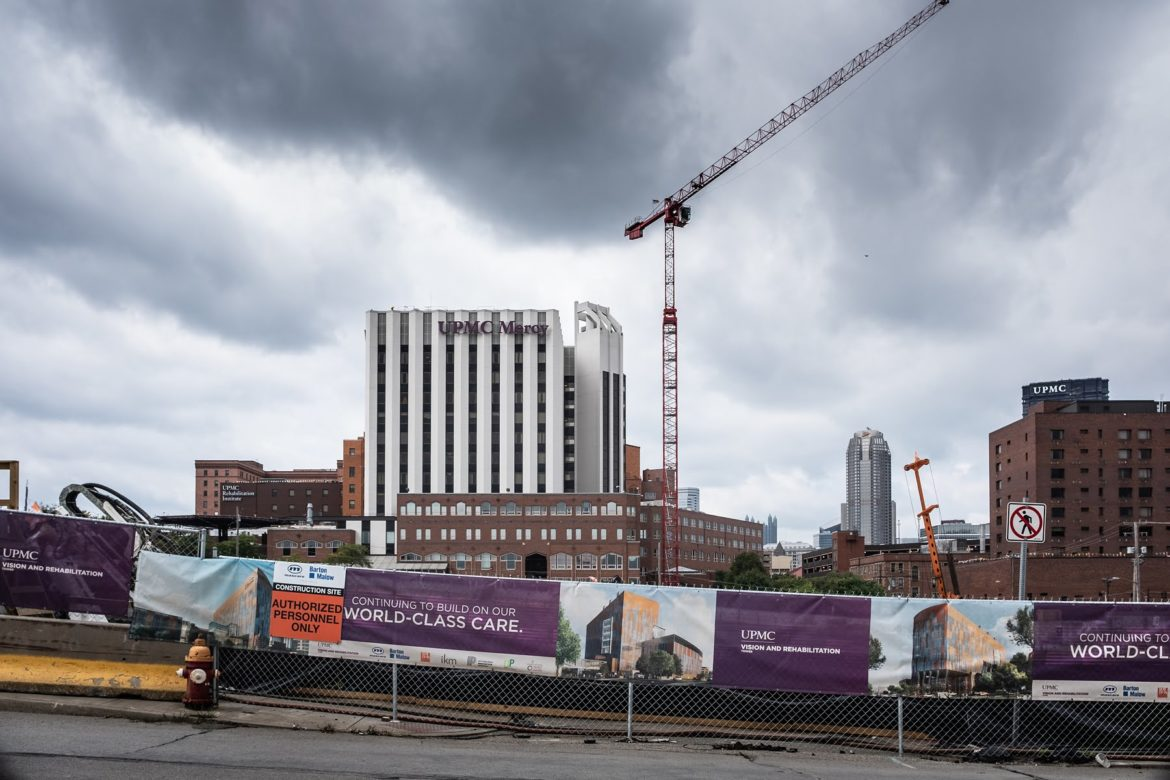 Construction around UPMC Mercy Hospital. (Photo by Terry Clark/PublicSource)