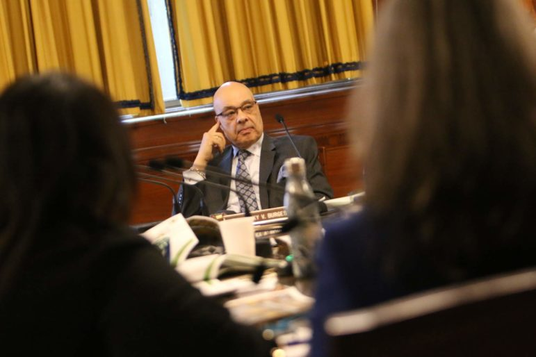 Councilman Rev. Ricky Burgess during a February meeting of Pittsburgh City Council. (Photo by Kimberly Rowen/PublicSource)