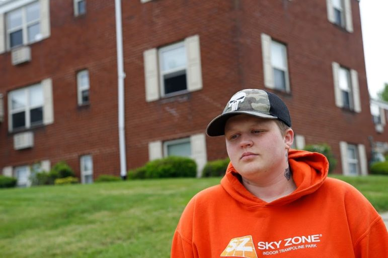 Devyn Kahler-Harms, 22, stands outside of the Baldwin Borough apartment at which he then resided, with his fiance, on June 2, 2020. (Photo by Ryan Loew/PublicSource)