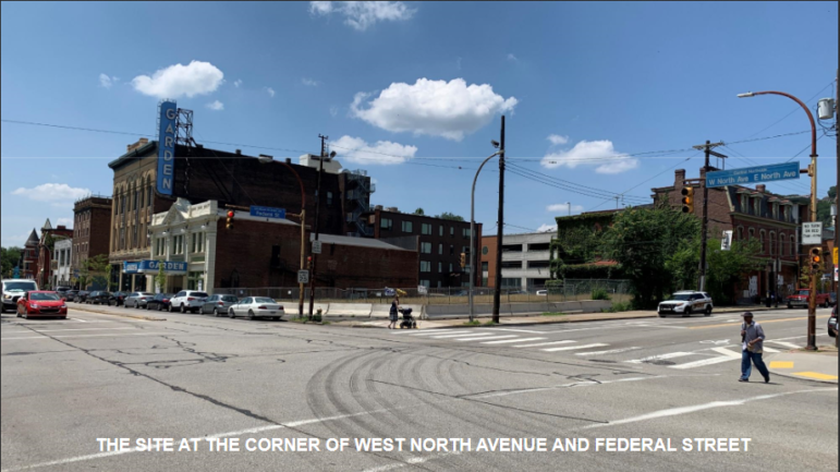 The corner of Federal and West North, presented by Trek Development and Q Development to the City Planning Commission on July 14, 2020.