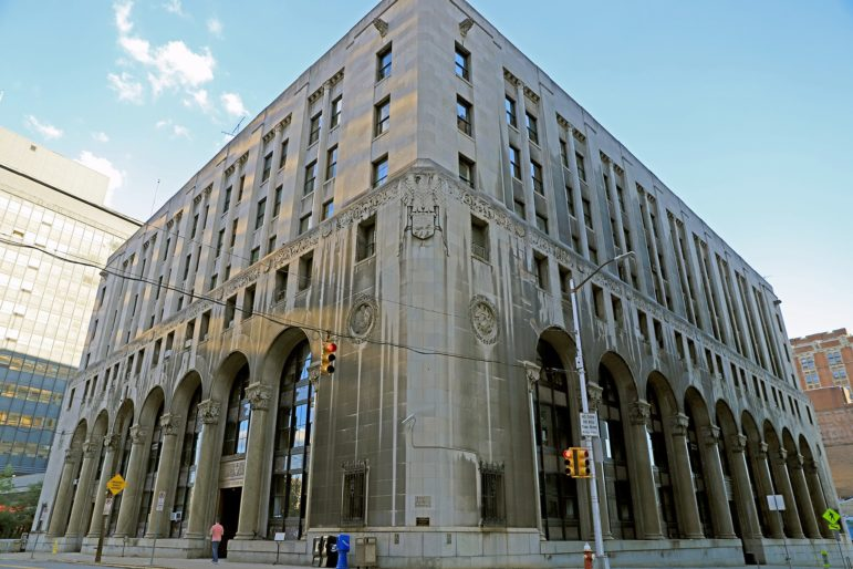 The County Office Building, on Ross Street, Downtown Pittsburgh, is among the buildings that will soon be heated by Peoples Natural Gas, rather than Pittsburgh Allegheny County Thermal. (Photo by Jay Manning/PublicSource)