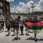 Marchers in Canonsburg head up North Central Avenue toward's the borough building during a June 20, 2020 march against racism and police brutality. (Photo by Heather Mull/PublicSource)