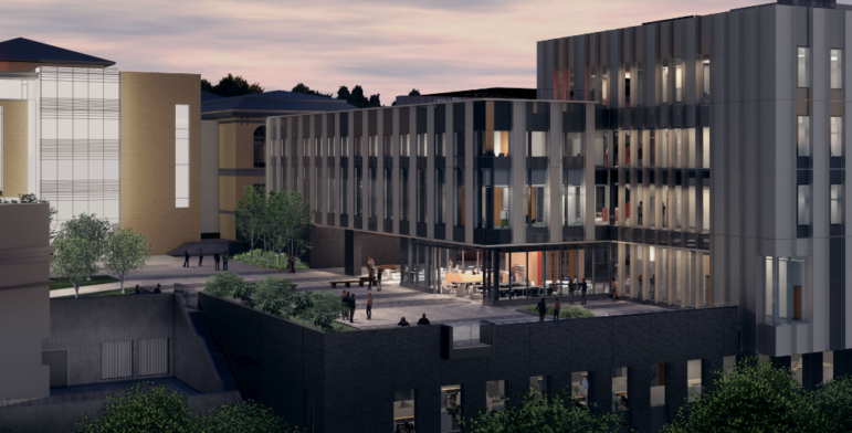 Night-lit rendering of proposed new Scaife Hall submitted by Carnegie Mellon University to the City Planning Commission on July 14, 2020.