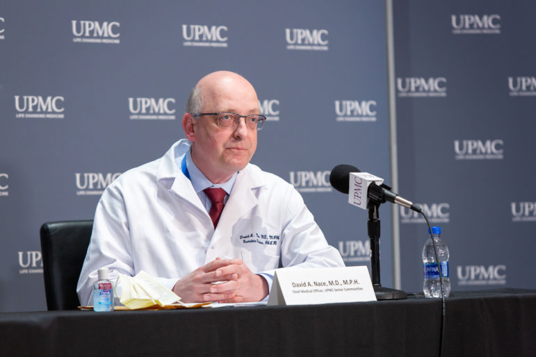 Dr. David Nace, chief medical officer of UPMC Senior Communities, talked about UPMC's involvement in the legislation creating Regional Response Health Collaboratives at a June 4, 2020 press conference. (Courtesy of UPMC)