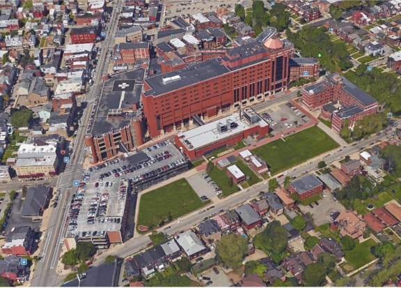 The West Penn Hospital campus, as presented by hospital staff to the City Planning Commission on July 14, 2020.