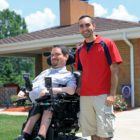 Nick and Eric Sinagra (left to right) in front of Nick's home in Whitehall. (Photo by Jay Manning/PublicSource)