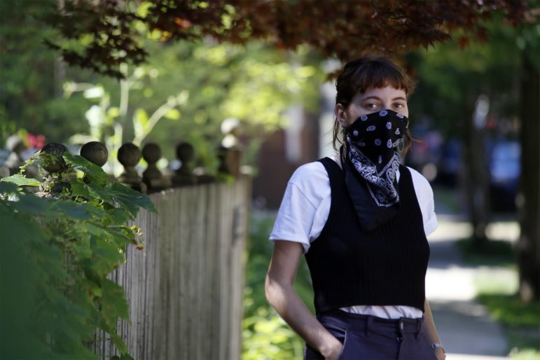 """We also have an interest in struggling against C.P. because they're taking part in buying up immense amounts of property and … beginning to gentrify the borough,"" said United Neighborhood Defense Movement organizer Anne Grayson, pictured here in Wilkinsburg on July 1, 2020. (Photo by Ryan Loew/PublicSource)"