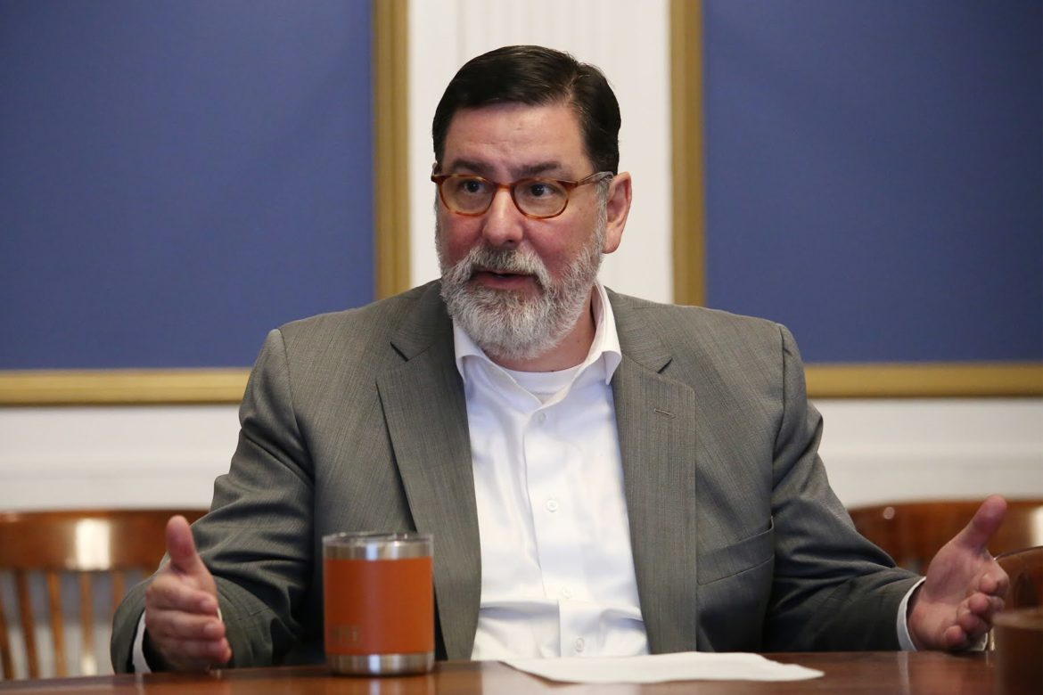 Pittsburgh Mayor Bill Peduto talks about police and protests, in the Mayor's Office conference room on Aug. 25, 2020. (Photo by Ryan Loew/PublicSource)