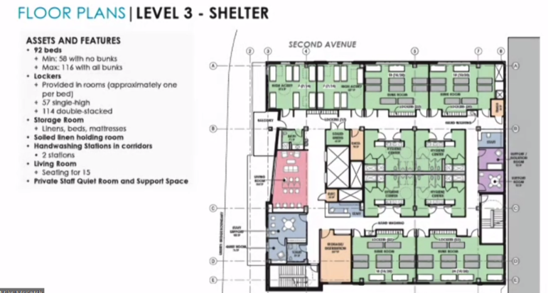 A floor plan for the proposed Project Cares homeless facility, presented during an online press briefing conducted on Aug. 25, 2020 (Screenshot)