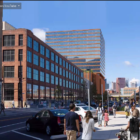 The City Planning Commission said no to the proposed Strip District tower in the background of this rendering submitted by developer JMC Holdings on Sept. 15, 2020. (Screenshot)