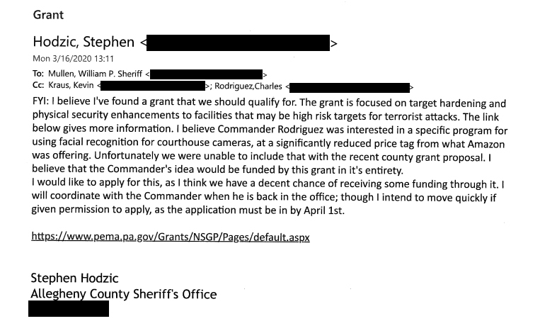 (Excerpts of emails provided by the Allegheny County Sheriff's Office. Email addresses have been redacted by PublicSource.)