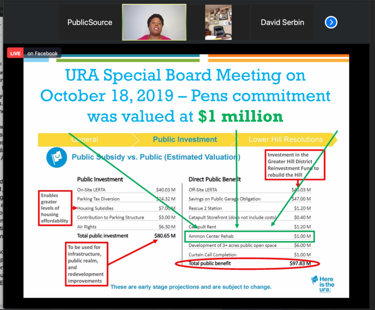 Hill Community Development Corp. President and CEO Marimba Milliones, top, shows attendees at a CDC quarterly meeting a marked-up list of the public subsidies, and benefits, to flow from the redevelopment of the Lower Hill, via Zoom, on Sept. 24, 2020. (Screenshot)