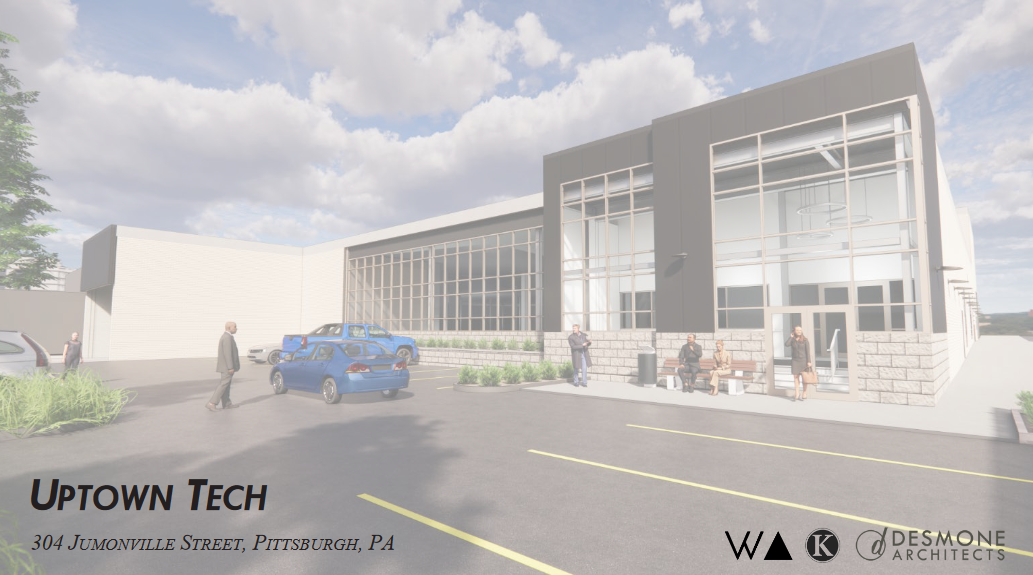 A rendering of the proposed Uptown Tech building, slated for the corner of Jumonville Street and the Boulevard of the Allies, presented to Pittsburgh's City Planning Commission on Sept. 29, 2020.