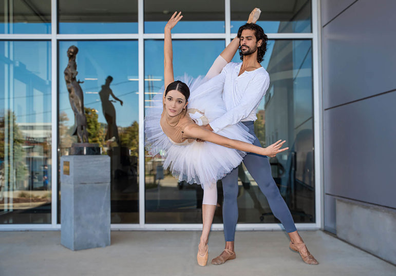 Marisa Grywalski and Alejandro Diaz in front of the Pittsburgh Ballet Theatre building on Liberty Avenue. (Photo by Teake Zuidema)