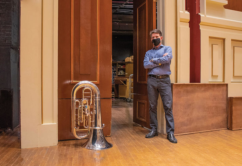 Craig Knox and his tuba in Heinz Hall (Photo by Teake Zuidema)