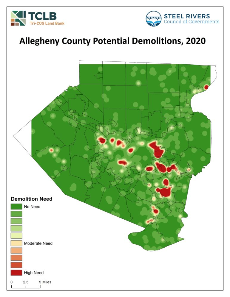 A heat map of estimated demolition needs in Allegheny County, created by the Steel Rivers Council of Governments and the Tri-COG Land Bank, using data on property conditions and tax delinquency.