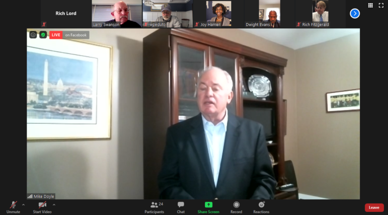 "Congressman Mike Doyle, D-Swissvale, speaks at a virtual press conference on the need for more federal aid to address the economic effects of the COVID-19 pandemic, especially housing instability. ""This is a problem in all 67 counties of Pennsylvania. People are hurting all across the state,"" he said. (Screenshot)"